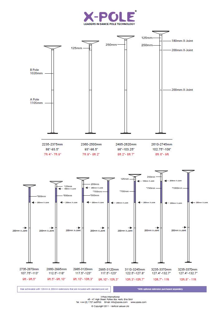X-Pole: maten en uitvoeringen